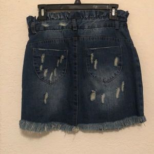 These Three Boutique Skirts - Denim fray jean skirt distressed can be high waist